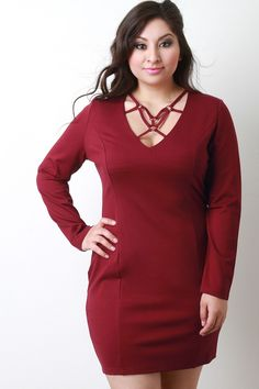 Description This  plus size  bodycon dress features a v-neckline with caged ringlet design, long sleeves, princess seam, and a hidden zipper fastener at back. Accessories sold separately. 63% Cotton, 32% Nylon, 5% Spandex.  Measurement     Size  Bust  Waist  Hip  Length  Sleeve      1X  20  16.5  21  34  23      2X  21  17.75  22  34.5  23      3X  22  19  23  35  23     | Shop this product here: http://spreesy.com/Sensualshoesandclothingboutique/934 | Shop all of our products at…