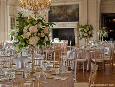 Spring wedding reception in the opulent ballroom of Rosecliff Mansion, Newport RI. Flowers by Stoneblossom.com