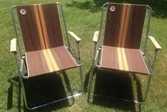 Pair Retro Vtg Vintage Folding Aluminum Lawn Chair Webbed