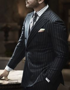 ♢Kiton♢Tailor-made custom pinstripe suit. Sharp Dressed Man, Well Dressed Men, Looks Style, My Style, Style Men, Style Blog, Bespoke Suit, Pinstripe Suit, Suit And Tie