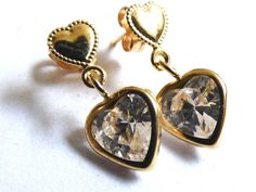 New 10K Yellow Gold Heart cut brilliant CZ dangle charm Earrings | eBay
