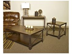 Shop for Signature Design Sofa Table, T526-4, and other Living Room Tables at Sylvan Furniture in Lewiston, ID. Top and shelf made with select Mindi veneer finished in a distressed vintage brown color. Table frame made with tubular metal, X brace, angle iron leg and metal brackets in a textured vintage bronze color finish.
