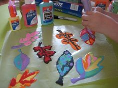 "making leaves with ""rainbow glue"""