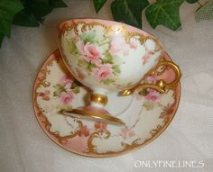 Stunning - Early - Haviland - Limoges FRANCE -Pedestal - Tea - Coffee - Coco - Chocolate - Cup and Saucer - Hand Painted - Romantic Victorian Bouquets - Pink Tea Roses - Ornate Gilded Design - Artist Signed - Dated 1898 - FRENCH Antique Heirloom