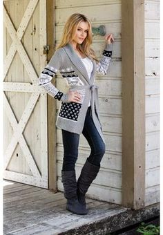 Body Central - comfy cardigan, skinny jeans and boots.
