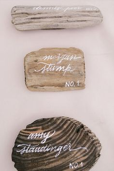 Use driftwood pieces as place cards.