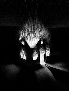Burn It Down Art Print by brianluong Fire Drawing, House Drawing, Arte Horror, Horror Art, Inspiration Art, Art Inspo, Arte Obscura, Art Et Illustration, Illustrations And Posters