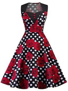Retro Polka Dot Floral Print Pin Up Dress - BLACK S