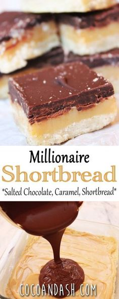 Millionaire Shortbread Bars – Sharon Cox Millionaire Shortbread Bars MILLIONAIRE SHORTBREAD BARS are layers of shortbread, caramel, and salted chocolate! And a super easy dessert! Brownie Desserts, Just Desserts, Delicious Desserts, Sweet Desserts, Homemade Desserts, Homemade Breads, Party Desserts, Wedding Desserts, Health Desserts