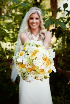 White and yellow bouquet-Rustic bridal bouquet-Rustic wedding