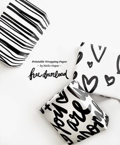 Maiko Nagao: Free printable wrapping paper - hand lettering by Maiko Nagao
