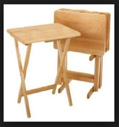 5 Piece Tray Table Set Wooden TV Folding Furniture Kids Snack Desk Portable #EssentialHome