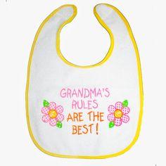 Baby Bib Grandmas Rules Are The Best flowers by BabysPreciousGifts