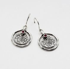 SHABLOOL Israel Handcrafted Red Garnet Sterling Silver 925 Earrings