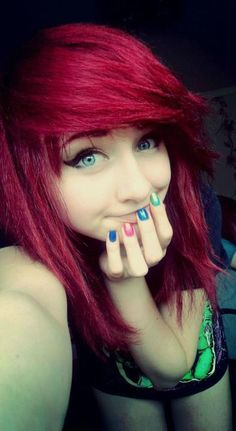 - Heart Our Style - beauty color colorful cute girl hair nails red scene Cute Scene Hair, Emo Scene Hair, Emo Hair, Beautiful Red Hair, Love Hair, Beautiful Eyes, Beautiful People, Undercut Hairstyles, Cute Hairstyles
