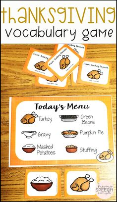 This  Thanksgiving dinner themed game is a great way for preschool and kindergarten students to practice functional vocabulary related to Thanksgiving. This game is appropriate for use during speech therapy sessions, in preschool centers and in special education classrooms. This game can also be used to work on basic turn taking skills or matching. Use as a motivator when paired with drill work. Click here to see more of this fun Thanksgiving game for kids!