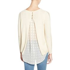 Lucky Brand Layer Look Split Back Sweater in Cream