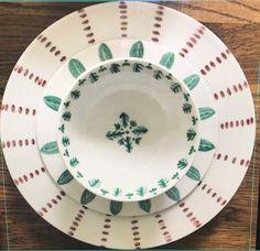 Vajilla agapanto con plato de postre hojas y cuenco cremas , Porcelana pintada a mano , vajilla de verano