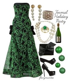 """""""Formal Holiday Party"""" by florymcintee ❤ liked on Polyvore featuring Arnold Scaasi, Yves Saint Laurent, Victoria Beckham, Chanel and Effy Jewelry"""