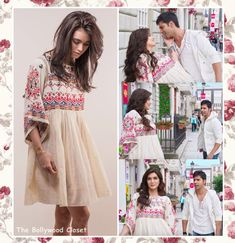 Kriti Sanon looked lovelyyyy at 'Manma Emotion Jaage' song from her incoming movie 'Dilwale' wearing a white embroidered dress by the designer Nina Kaufmann styled by Mehek … Casual Indian Fashion, Indian Fashion Dresses, Indian Designer Outfits, Girls Fashion Clothes, Ladies Day Dresses, Stylish Dresses For Girls, Stylish Dress Designs, Boho Outfits, Dress Outfits