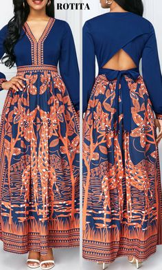 Cutout Back Printed Long Sleeve Dress .Shop now for the perfect new dress!Huge selection with new styles added every day. African Print Dresses, African Print Fashion, Africa Fashion, African Fashion Dresses, Indian Dresses, Fashion Outfits, African Dress Styles, Fashion Ideas, Sexy Dresses