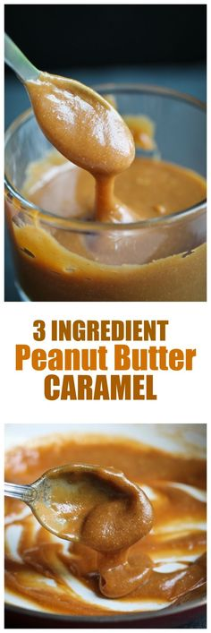 3 Ingredient Peanut Butter Caramel. To die for and takes just a few minutes to make. Dairy-free and oil-free. | http://TheVegan8.com | #vegan #peanutbutter #caramel #dairyfree #oilfree