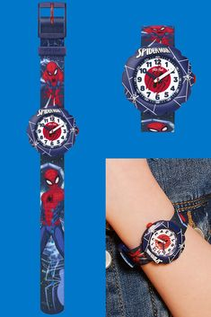 SPIDER-MAN IN ACTION (ZFLSP012) is a watch to help kids with learning to tell the time while they go out and fight crime! An iconic gift that's inspired by the world's coolest webslinger, this bold and brilliant superhero watch for kids features a solid blue plastic case and rotating bezel. With a Spiderman motif on the strap, it will remind its owner to always dream big. Help Kids, Telling Time, Plastic Case, Dream Big, Rolex Watches, Swatch, Going Out, Bracelet Watch, Spiderman