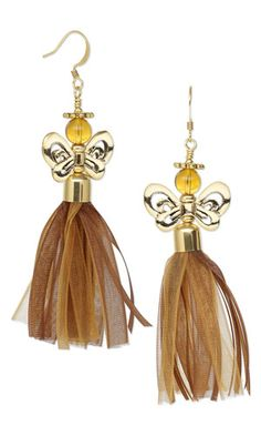 Earrings with Czech Pressed Glass Beads, Antiqued Gold-Plated Pewter Beads and Organza Ribbon