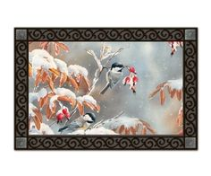 Winter Day Chickadees MatMate by Magnet Works, Ltd. $22.14. Die-sublimated mat. Non-slip recycled rubber backing. Weatherproof for outdoor use.