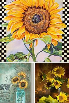 Sunflower home decor is beautiful, trendy and crazy popular.   These beautiful sunflower decorative accents come in many forms from sunflower wall art, sunflower canvas art, sunflower accent pillows not to mention other sunflower home decorations.   Home decor inspiration can be found by looking at these vivid and beautiful sunflowers.