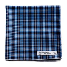 Reclaimed Blue Plaid Cotton Pocket Square
