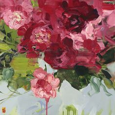 Bobbie Burgers painting of a red & pink bouquet of roses or peonies. I love the colours, the green, red and pink and that the painting is abstract floral