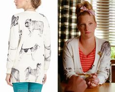 This crazy dog-printed cardigan could only have been made for Brittany. Anthropologie Pooch Posse Cardigan - $59.95 (on sale!) Worn with: Anthropologie dress, Anthropologie belt
