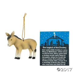 Learn the religious story behind the symbolism of the donkey with these Legend Of The Donkey Christmas Ornaments. Hang this teaching ornament on your ...