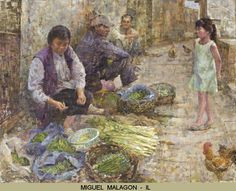 """If you visit Illinois, you might encounter artist Miguel Malagon painting in the streets of Chicago. He is """"drawn and attracted to scenes of everyday life and everyday people"""", giving us a glimpse into activities and places that might go unnoticed. His unique brushstrokes of colors can be seen in """"Vegetable Woman"""" oil 22x28 on display till October 3 at Addison Art Gallery See the entire National Exhibit in the gallery website page http://www.addisonart.com/national-show/"""