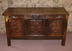 Charles I Period Carved Oak Coffer - Antiques Atlas