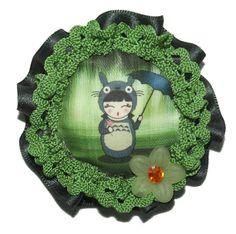 Broche de tela kokeshi Totoro