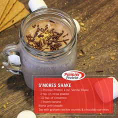 need to a campfire to enjoy this s'mores inspired shake! of cocoa powder ½ tsp. of cinnamon 1 frozen banana Blend until smooth, then top with graham cracker crumbs and chocolate sprinkles. Protein Smoothies, Protein Snacks, Smoothie Proteine, Protein Shake Recipes, Smoothie Recipes, High Protein, Pure Protein, Protein Power, Milkshake Recipes