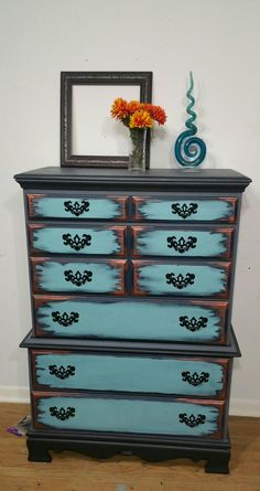"""5 Drawer Solid wood Dresser  35"""" wide x 18"""" deep x 49"""" high   This solid wood Dresser Demands Attention  ...  Dresser...  is done in Pewter Gray and Black .. The Drawers are Done in Cascade Light blue and Accent is a custom made Midnight Blue and Copper"""