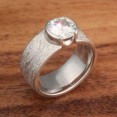 White Mokume Solitaire Engagement Ring