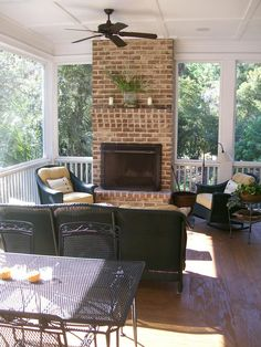 Charleston Traditional Porch Design Ideas, Pictures, Remodel and Decor Outdoor Rooms, Outdoor Living, Outdoor Furniture Sets, Outdoor Kitchens, Outdoor Fun, Outdoor Ideas, Veranda Design, Porch Fireplace, Deck With Fireplace