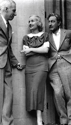 "Director Howard Hawks, Carole Lombard, and John Barrymore while making ""Twentieth Century""."
