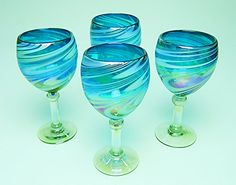 Wine Glasses Hand Blown Glass Turquoise  White Iridescent Swirl 12 oz Set of 4 >>> Visit the image link more details.