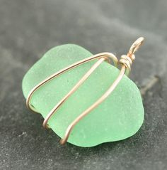 Dark Sea Foam Beach Glass Pendant, Wire wrapped, beach glass, gift for her, Surf tumbled sea glass