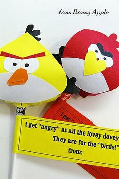Angry Birds anti Valentine...check out the mustache and chap stick too