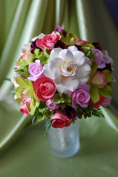 Cymbidium Gardenia Calla Lily Tulip and Rose by midoridesigns