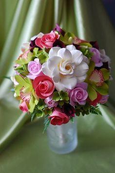 Cymbidium, Gardenia, Calla Lily, Tulip and Rose Bridal Bouquet http://www.etsy.com/listing/72183285/cymbidium-gardenia-calla-lily-tulip-and