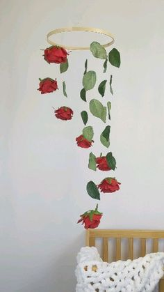 Red Rose Baby Mobile for the Floral Nursery - This is a beautiful floral mobile for your sweet little one's nursery! Adds a botanical touch you - My Room, Girl Room, Diy Room Decor, Bedroom Decor, Home Decor, Floral Nursery, Red Nursery, Girl Bedroom Designs, Woodland Nursery Decor