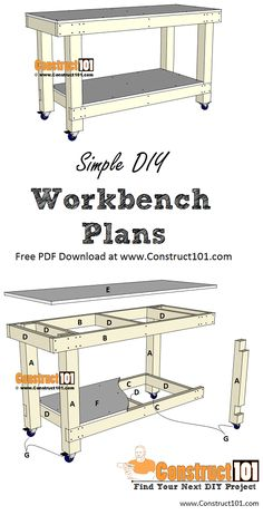 A workbench is a must-have when starting your own workshop! This DIY workbench is the perfect build Woodworking Plans Pdf, Easy Woodworking Projects, Popular Woodworking, Fine Woodworking, Wood Projects, Woodworking Techniques, Woodworking Equipment, Woodworking Basics, Woodworking Books
