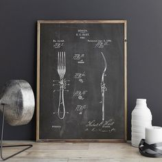 Fork, Dining Room, Dining Room Art, Silverware Art, Antique Silverware, Kitchen Wall Decor, Silverware, Kitchen Art, Kitchen Decor, Dining Room Decor, Dining Room Wall Art, Restaurant Decor, Kitchen Wall Art